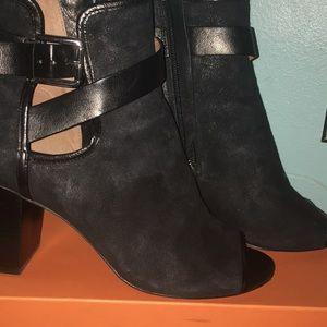 Donald J Pliner Black Suede Leather Open Toe Boots